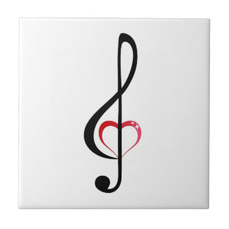 Treble clef with shiny pink heart ceramic tile