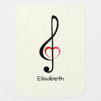 Treble clef with shiny pink heart name baby baby blanket