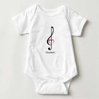 Treble clef with shiny pink heart name baby shirt