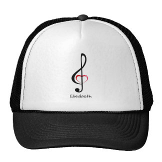 Treble clef with shiny pink heart name cap
