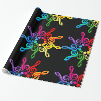 Treble Clefs In A Pattern Glossy Wrapping Paper