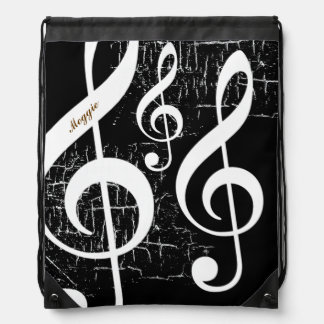 treble clefs music personalized drawstring bag