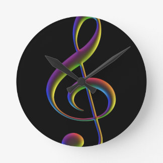 Treble Cleft in Rainbow colors Round Clock