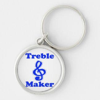 treble maker clef blue music design keychain