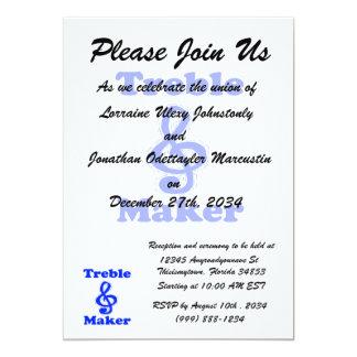 treble maker clef blue music humour 13 cm x 18 cm invitation card