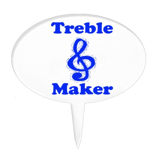 treble maker clef blue music humour cake pick