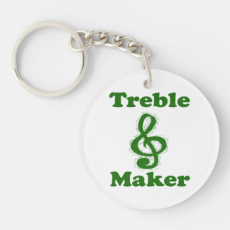 treble maker clef green funny music design Double-Sided round acrylic keychain