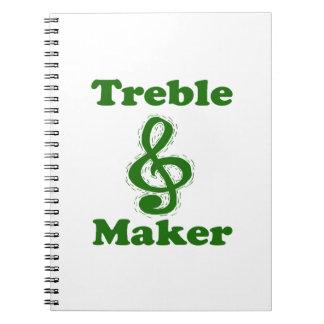 treble maker clef green funny music design notebook