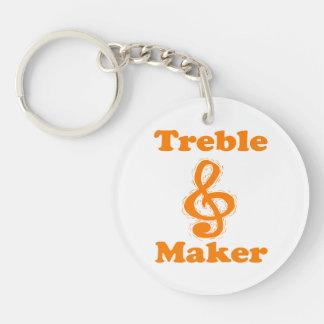 treble maker clef orange funny music design Double-Sided round acrylic keychain