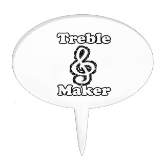 treble maker clef white blk outline music humour cake toppers