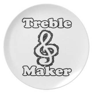 treble maker clef white blk outline music humour party plate