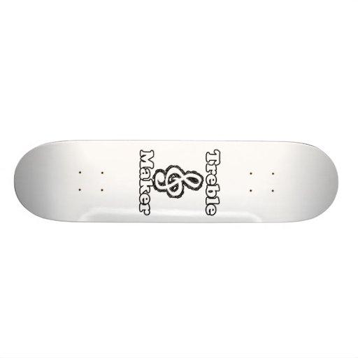 treble maker clef white blk outline music humour skateboard