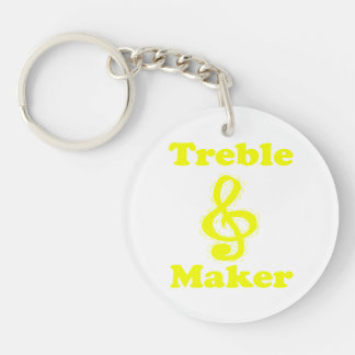 treble maker clef yellow funny music design Double-Sided round acrylic keychain