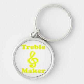 treble maker clef yellow funny music design key chain
