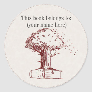 Tree and a book classic round sticker