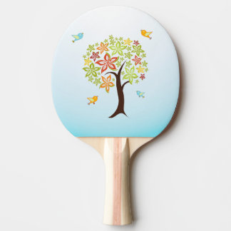 Tree and birds ping pong paddle
