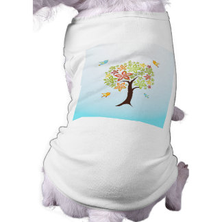 Tree and birds sleeveless dog shirt