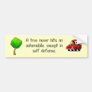 Tree and Car Bumper Sticker