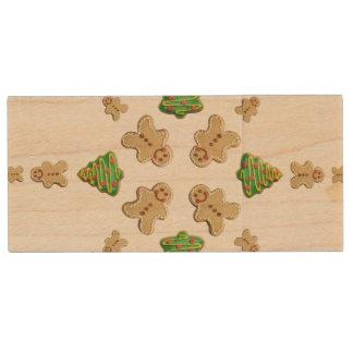 Tree and Gingerbread Man Cookie Snowflake Wood USB 2.0 Flash Drive
