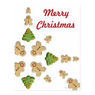 Tree and Gingerbread Man Cookie Snowflake Postcard