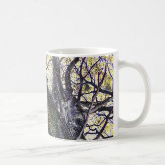 tree and golden sky classic white coffee mug