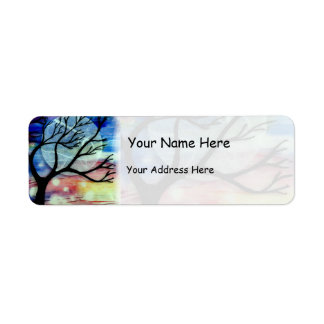 Tree and Ink Transparent Layers Return Address Label