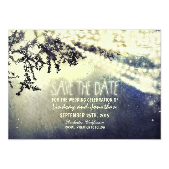 tree and lights rustic save the date cards