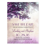 tree and love birds rustic vintage save the date post card