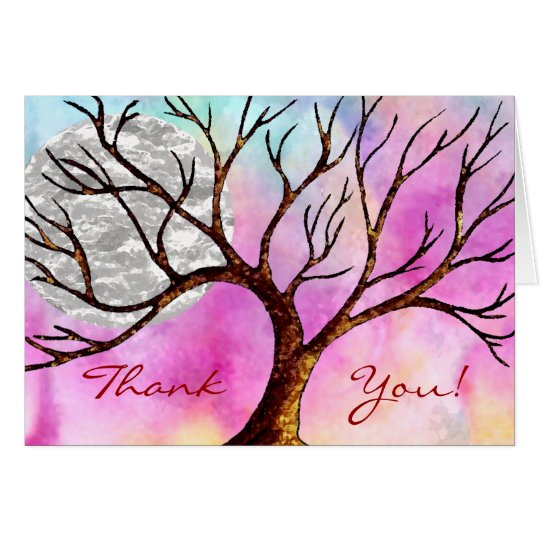 Tree and Moon Colourful Thank You Card