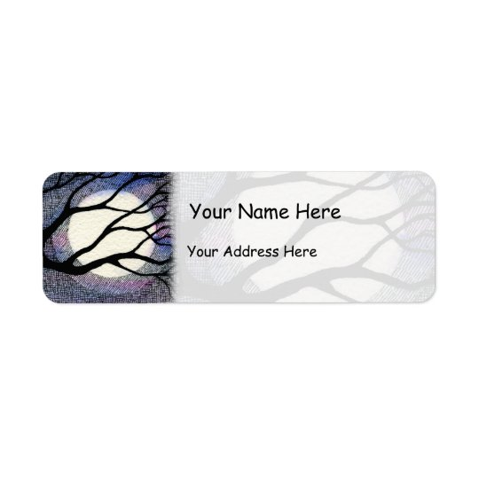 Tree and Moon Cross Hatched Return Address Label