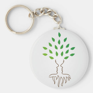 Tree and roots forming the face of a woman basic round button key ring
