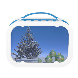 tree and snow and christmas lunch box