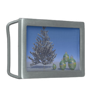 tree and snow and christmas rectangular belt buckle