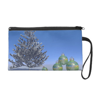 tree and snow and christmas wristlet