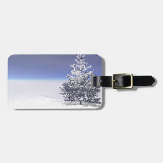 tree and snow white luggage tag