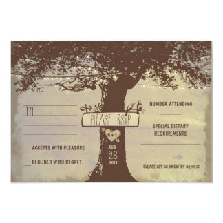 tree and string lights wedding RSVP cards 9 Cm X 13 Cm Invitation Card
