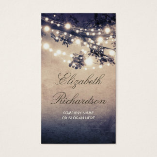 Tree and String of Lights Festive and Dreamy Business Card