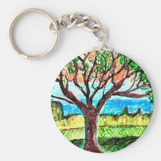 Tree Art Basic Round Button Key Ring