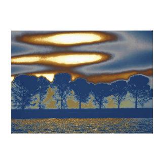 Tree Art Liquid Gold Stretched Canvas Print