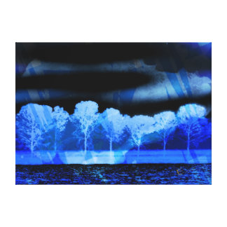 Tree Art Midnight Blue Gallery Wrapped Canvas