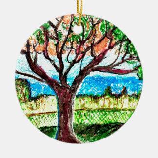 Tree Art Round Ceramic Decoration