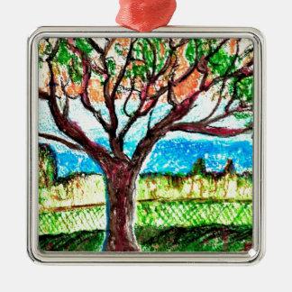 Tree Art Silver-Colored Square Decoration