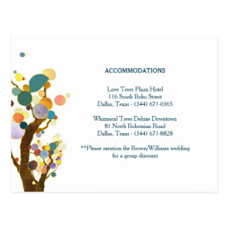 Tree Art Teal Wedding Accommodation Enclosure Postcard