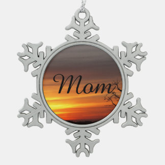 Tree At Sunset Snowflake Pewter Christmas Ornament