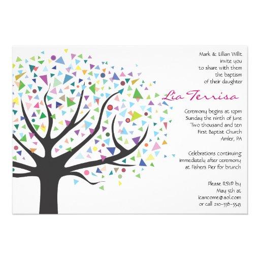 Tree Baptism Christening Custom Invitation