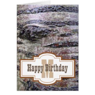 Tree Bark Happy Birthday Monogram Card