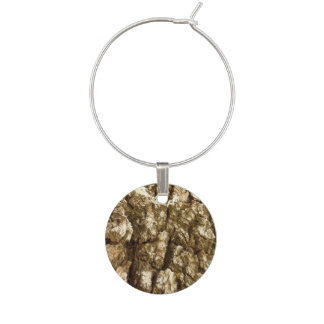 Tree Bark II Natural Abstract Textured Design Wine Charm