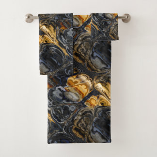 Tree Bark Marbled Abstract Bath Towel Set