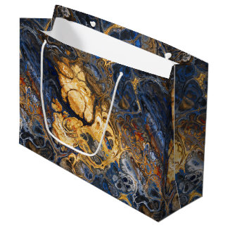 Tree Bark Marbled Abstract Large Gift Bag