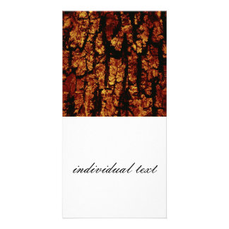 tree bark structure, brown personalized photo card